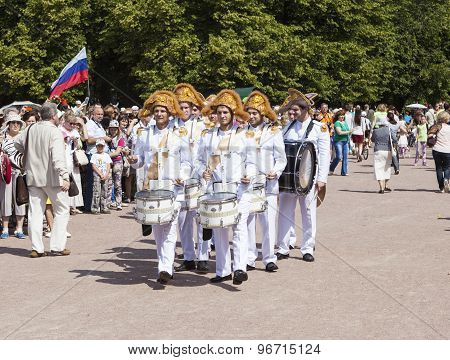 PAVLOVSK, RUSSIA - JULY 18, 2015: Photo of Drummers