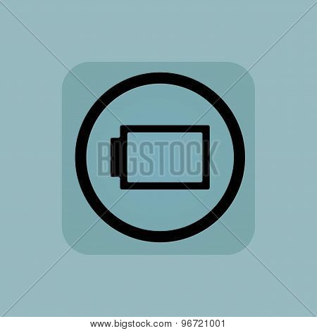 Fully discharged battery in circle, in square, on pale blue background poster