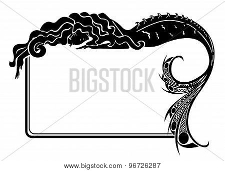Art-nouveau mermaid silhouette with frame isolated on white poster