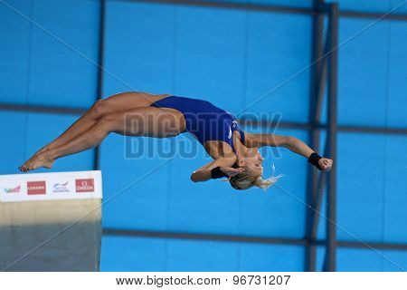 LONDON, GREAT BRITAIN - APRIL 27 2015: Tonia Couch of Great Britain competing in the women's 10m platform during the FINA/NVC Diving World Series at the London Aquatics Centre