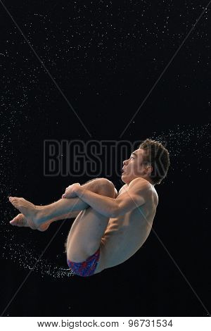 LONDON, GREAT BRITAIN - APRIL 27 2015: Daniel Goodfellow of Great Britain during the FINA/NVC Diving World Series at the London Aquatics Centre