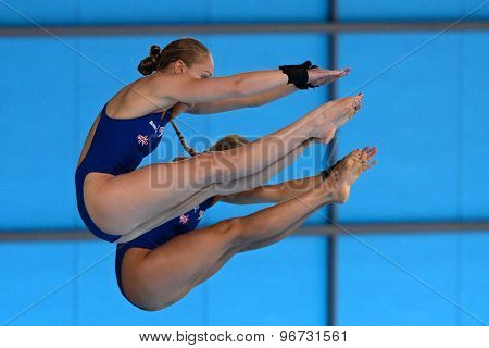 LONDON, GREAT BRITAIN - APRIL 25 2015: Rebecca Gallantree and Hannah Starling of Great Britain competing in the women's synchro 10m platform final during the FINA/NVC Diving World Series