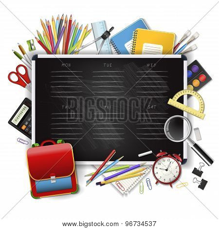 School Timetable On Black Classroom Chalkboard With Supplies Tools.