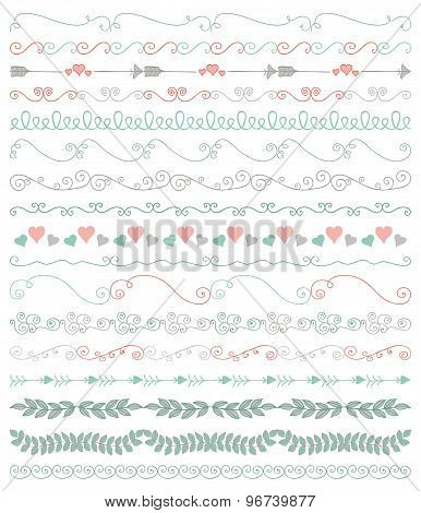 Vector Colorful Hand Sketched Seamless Borders, Branches