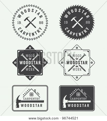 Set Of Vintage Carpentry vector Labels, Emblems, Badges And Logo poster