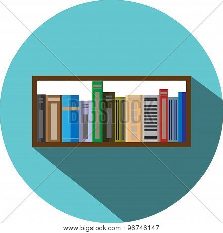 Book Shelf Icon Flat Style