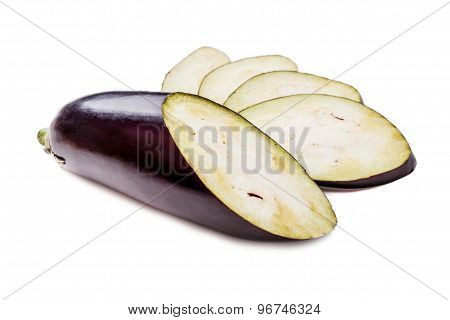 Slices Aubergine On The White Table