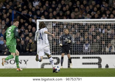 LONDON ENGLAND, November 11 2010: Werder Bremen's defender Sebastian Prodl and Tottenham's Luka Modric in action during the UEFA Champions League match between Tottenham Hotspur FC and Werder Bremen