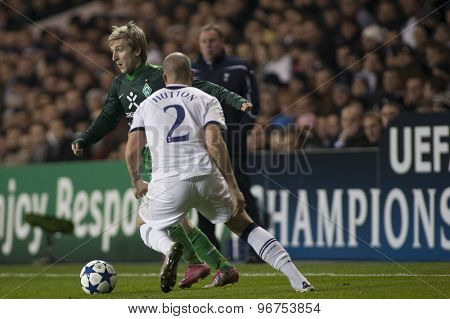 LONDON ENGLAND, November 11 2010: Werder Bremen's midfielder Marko Marin and Tottenham's Alan Hutton in action during the UEFA Champions League match between Tottenham Hotspur FC and Werder Bremen
