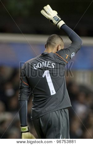 LONDON ENGLAND, November 11 2010: Tottenham's Heurelho Gomes shows 3 fingers to the crowd to represent the score during the UEFA Champions League match between Tottenham Hotspur and Werder Bremen