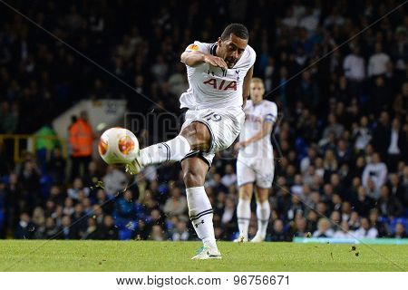 LONDON, ENGLAND - September 19 2013: Tottenham's Mousa Dembele takes a shot at goal during the UEFA Europa League match between Tottenham Hotspur and Tromso played at The White Hart Lane Stadium.
