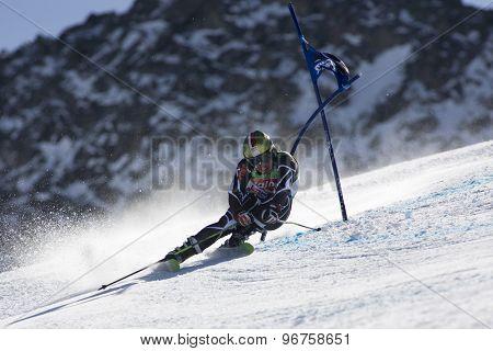 SOELDEN, AUSTRIA Oct 25 2009 BANK Ondrej (CZE) competing in the mens giant slalom race at the Rettenbach Glacier.