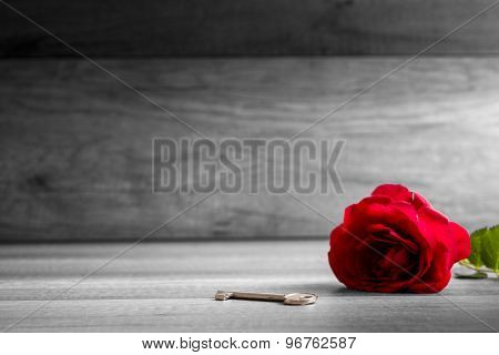 Beautiful Blooming  Red Rose And Key On Wooden Table