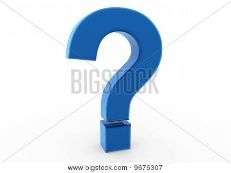 3d question mark symbol blue isolated on white background poster