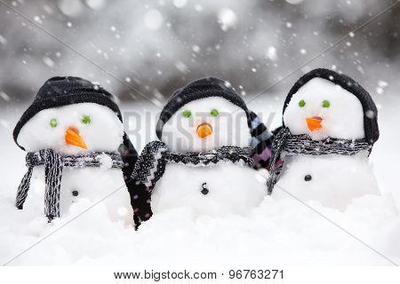 Three Cute Snowmen