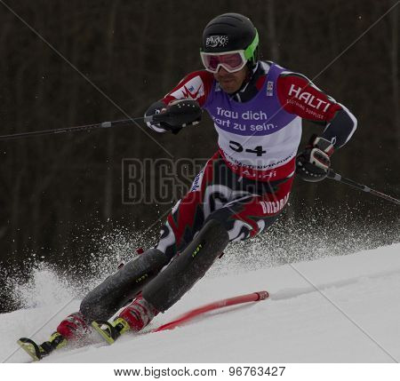 GARMISCH PARTENKIRCHEN, GERMANY. Feb 19 2011: Kilian Albrecht (BUL)  competing in the mens  slalom race , at the 2011 Alpine skiing World Championships