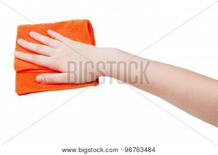 hand with orange wiping rag isolated on white background poster