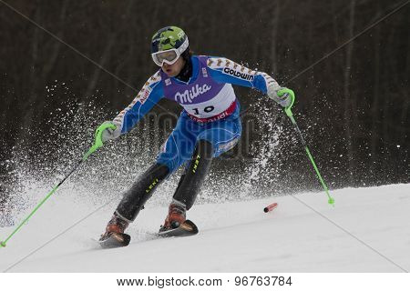 GARMISCH PARTENKIRCHEN, GERMANY. Feb 19 2011: Axel Baeck (SWE)  competing in the mens  slalom race , at the 2011 Alpine skiing World Championships