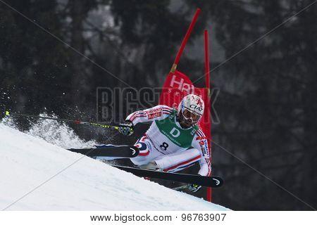 GARMISCH PARTENKIRCHEN, GERMANY. Feb 18 2011: Gauthier De-Tessieres (FRA) competing in the mens giant slalom race on the Kandahar race piste at the 2011 Alpine skiing World Championships