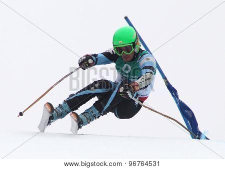 GARMISCH PARTENKIRCHEN, GERMANY. Feb 18 2011: Sebastiano Gastaldi (ARG) competing in the mens giant slalom race on the Kandahar race piste at the 2011 Alpine skiing World Championships
