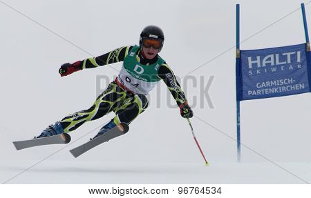 GARMISCH PARTENKIRCHEN, GERMANY. Feb 18 2011: Conor Lyne (IRE) competing in the mens giant slalom race on the Kandahar race piste at the 2011 Alpine skiing World Championships