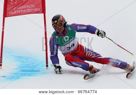 GARMISCH PARTENKIRCHEN, GERMANY. Feb 18 2011: Noel Baxter (GBR) competing in the mens giant slalom race on the Kandahar race piste at the 2011 Alpine skiing World Championships