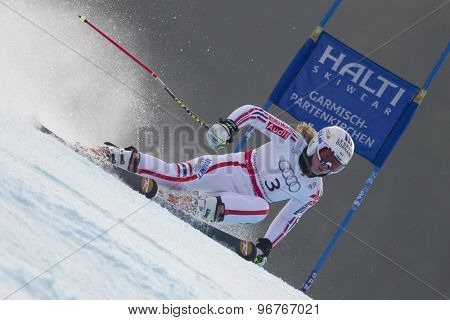 GARMISCH PARTENKIRCHEN, GERMANY. Feb 17 2011: WORLEY Tessa (FRA) competing in the women's giant slalom  race  at the 2011 Alpine skiing World Championships