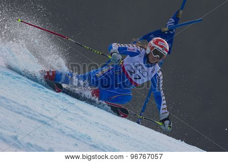 GARMISCH PARTENKIRCHEN, GERMANY. Feb 17 2011: HECTOR Sara (SWE) competing in the women's giant slalom  race  at the 2011 Alpine skiing World Championships