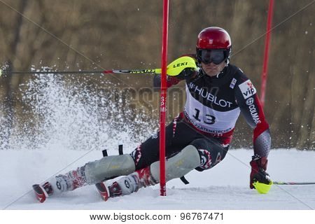 GARMISCH PARTENKIRCHEN, GERMANY. Feb 14 2011: Natko Zrncic-Dim (CRO) competing in the men's slalom at the 2011 Alpine skiing World Championships