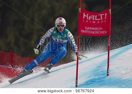 GARMISCH PARTENKIRCHEN, GERMANY. Feb 13 2011: Anja Paerson (SWE) speeds down the course competing in the women's downhill race at the 2011 Alpine skiing World Championships