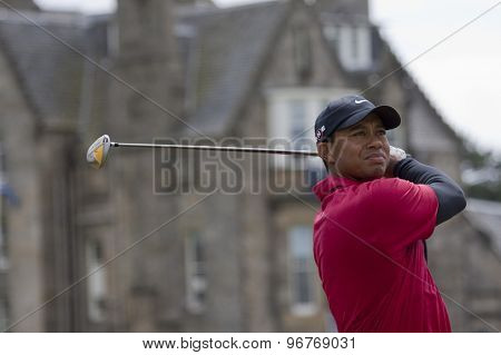 ST ANDREWS, SCOTLAND. July 18 2010: Tiger WOODS from the USA in action during the final round of The Open Championship   played on The Royal and Ancient Old Course