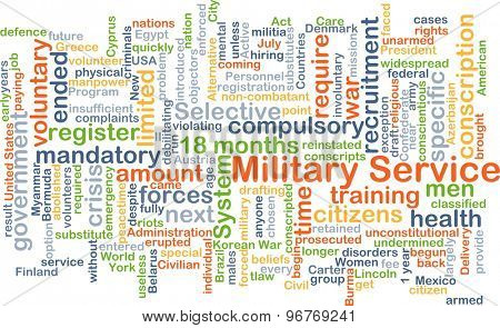 Background concept wordcloud illustration of military service