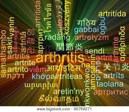 Background concept wordcloud multilanguage international many language illustration of arthritis glowing light