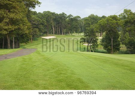 Golf Fairway Lined With Trees Leading To Green And Sand Traps