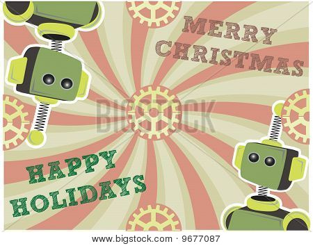 Christmas Robot Background Swirls And Gears