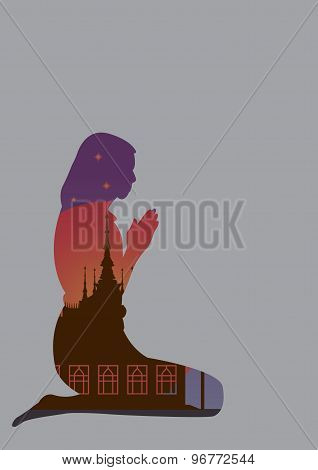 form of girl in front of the temple on buddhist holy day vector file.