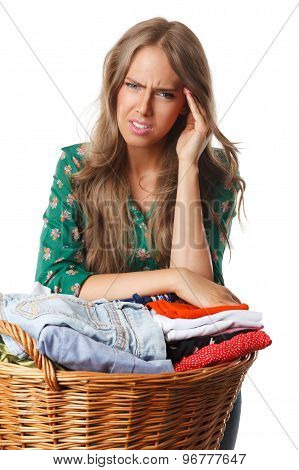 Tired upset Woman Doing The Chores