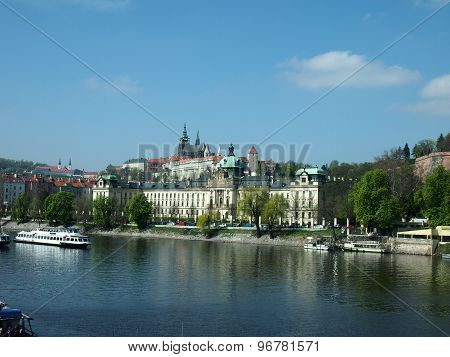 View Prazsky Hrad From The Vltava River