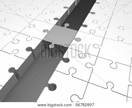 Jigsaw Puzzles Unified Abstract Illustration With Jigsaw Puzzles