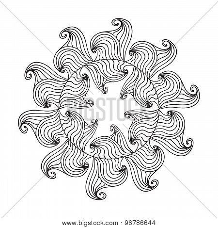 Oval Frame mandala coloring page isolated on white