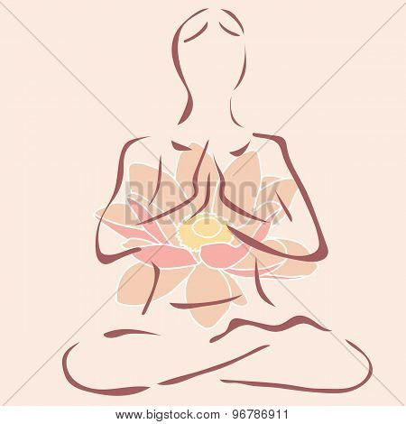 isolated vector figure of a woman in a lotus