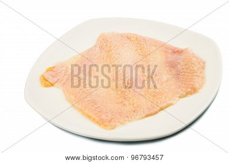 Saggy chicken skin removed from breast meat