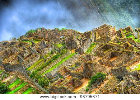 Zooming in the ruins of the lost city of Machu Picchu Peru in HDR (high dynamic range)