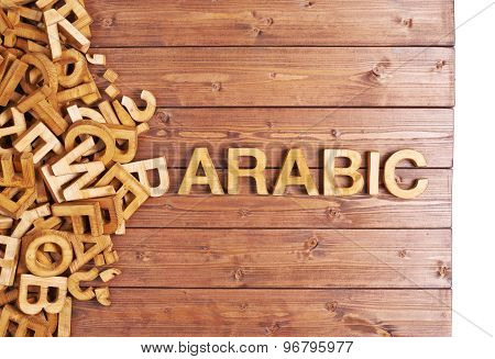Word arabic made with wooden letters