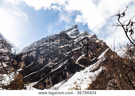 Mountain peak of the Himalayan range on the way to Annapurna Base Camp, Nepal poster