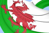 3D Flag of the Wales. Close Up. poster