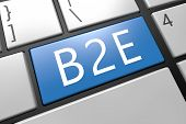 B2E - Business to Employee - keyboard 3d render illustration with word on blue key poster