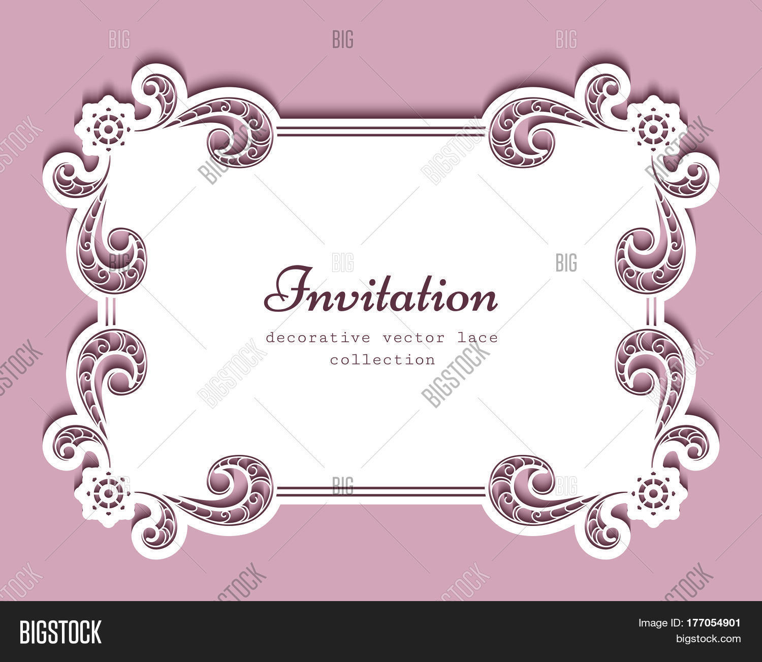 Rectangle Frame With Cutout Paper Lace Border, Suitable For Laser Cutting  Or Wood Carving,