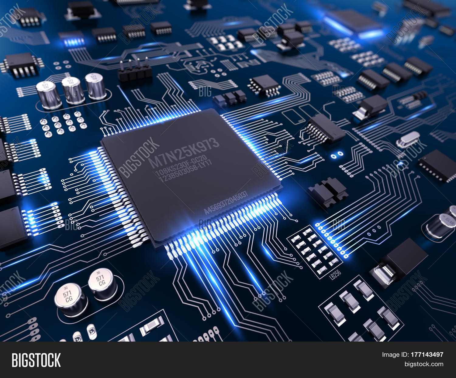High Tech Electronic Image Photo Free Trial Bigstock Circuit Board Printed Pcb With Processor And Microchips 3d Illustration