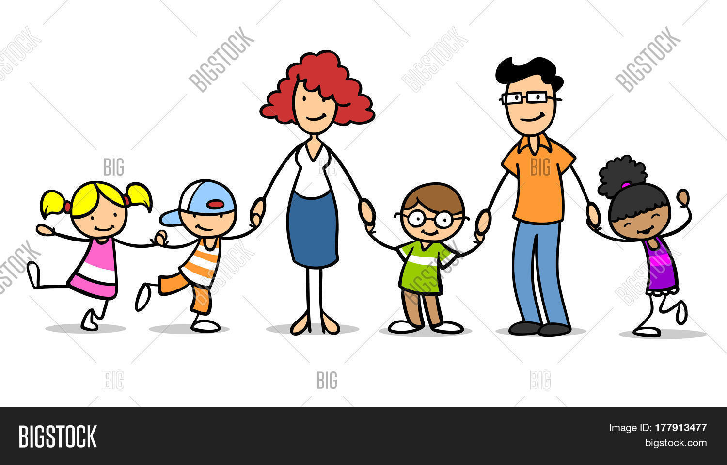 Different Happy Cartoon Children In A Foster Family Or Adoptive